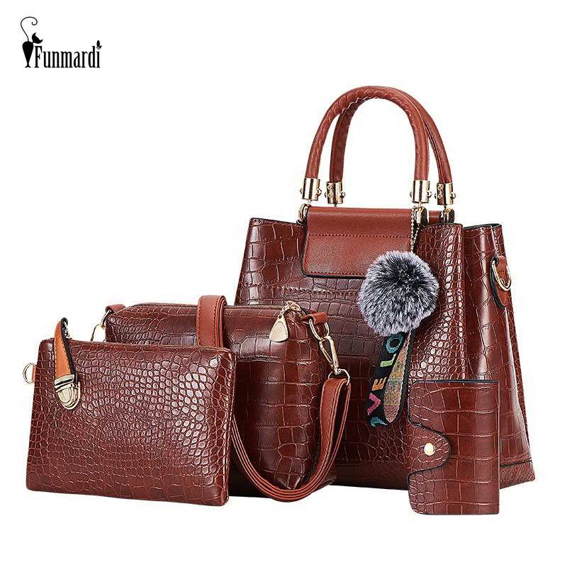 FUNMARDI 4PS Women Bags Set Luxury Crocodile Female Handbags PU Leather Shoulder Bags Brand Composite Bags Messenger WLHB2024