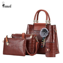 FUNMARDI 4PS Women Bags Set Luxury Crocodile Female Handbags PU Leathe