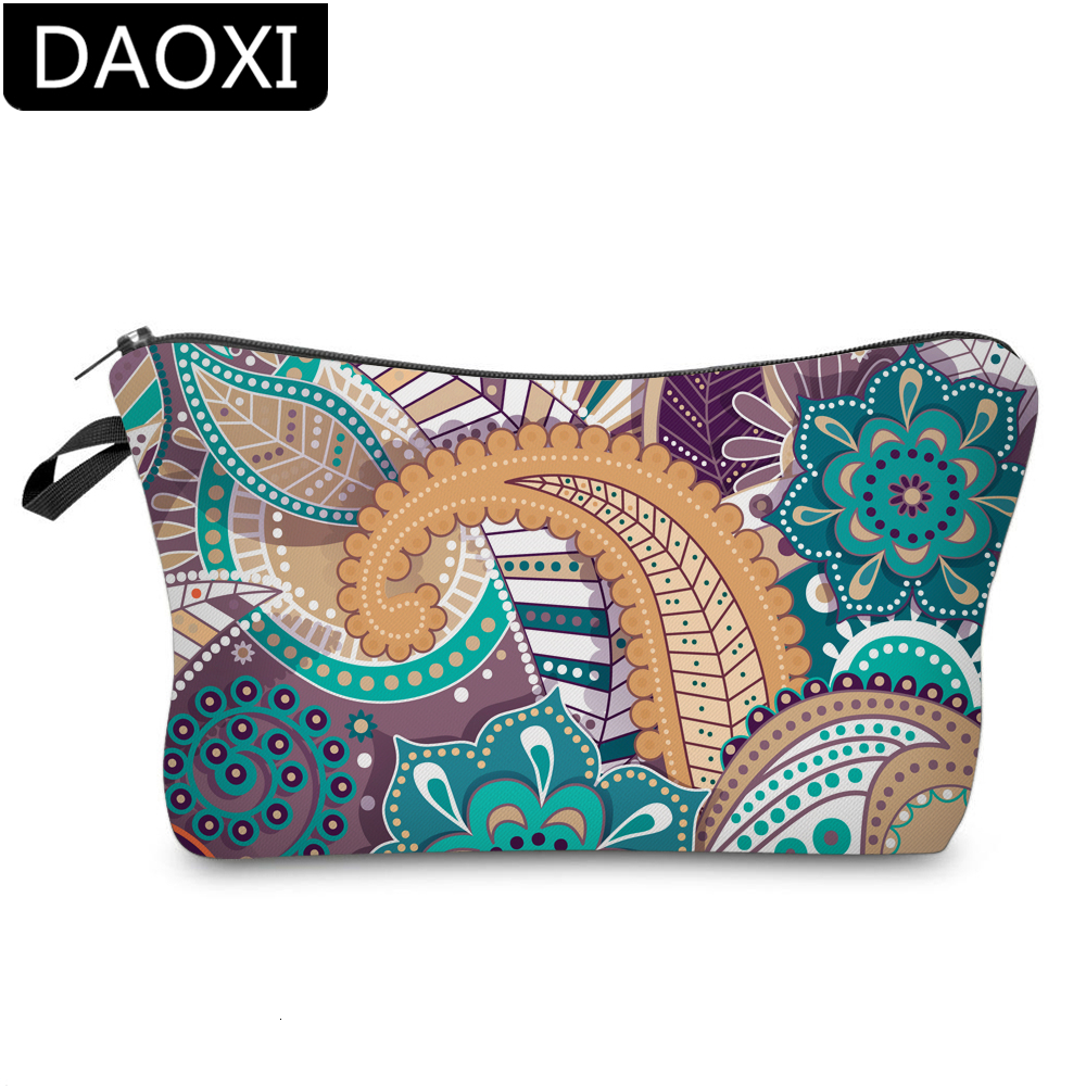 DAOXI Printing Mandala Cosmetic Bag Polyester Girls Small Makeup Bags For Women DX51597