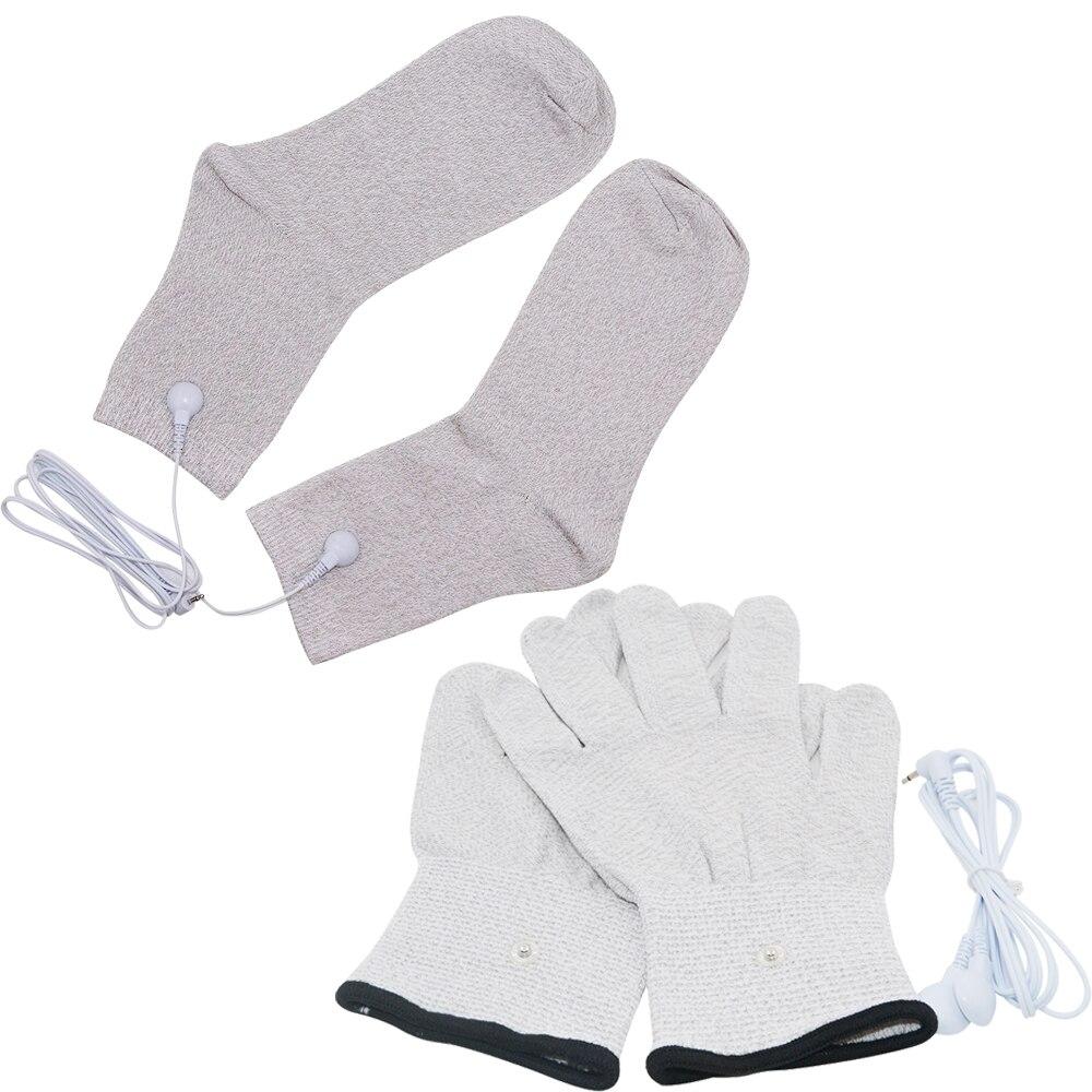 1 Pair Massage Socks Therapy Gloves Conductive Fiber EMS Accessories Prevent Rheumatism Electrode Stimulation TENS Drop ship