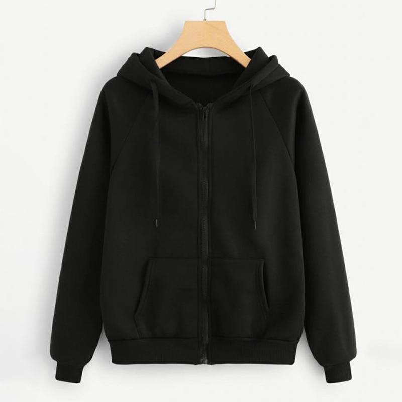 Autumn Winter Harajuku Black Solid Sweatshirt Women Zip-up Hoodie Loose XL-4XL Women Hoodies Sweatshirts Casual Tracksuit In Sto