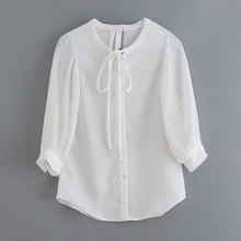 Women Casual White New Arrival Za Blouse Summer Chic Women Single Breasted O-neck With Bow Pleated Long Sleeve Shirts mujer 2019(China)