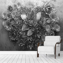 Custom Mural Wallpaper 3D Cement Wall Flowers Fresco Living Room TV Sofa Bedroom Background Wall Decor Papel De Parede Wallpaper custom mural wallpaper 3d abstract feather art fresco living room bedroom wall papers home decor wall painting papel de parede