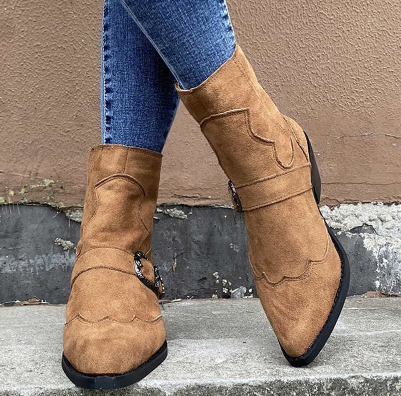 Sepatu Bot Wanita Fashion Retro Indah Gesper Sepatu Wanita Musim Gugur Musim Dingin Menunjuk Toe Zip Sepatu Wanita Hak Rendah Plus Ukuran 43
