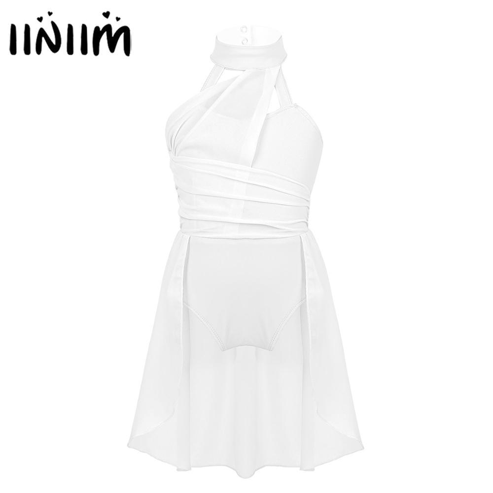 Iiniim Kids Girls Ice Skating Dress Chiffon Bodice Caged Back Ballroom Dance Class Costumes Leotard Dress Lyrical Dancewear