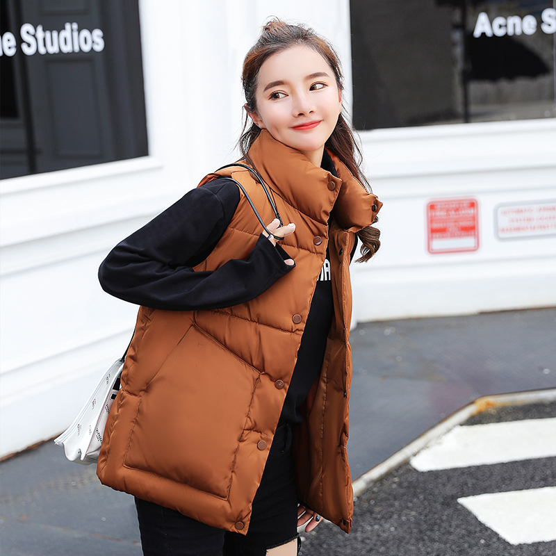 2019 Hot Selling Autumn Winter Women Waistcoat Female Thickening Vest Down Cotton Slim Warm Waistcoat  Jacket