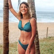 CUPSHE Solid Teal obrębek w półokrągłe ząbki żebrowane zestawy bikini Sexy strój kąpielowy strój kąpielowy dwuczęściowy kobiety 2020 Summer Beach kostiumy kąpielowe