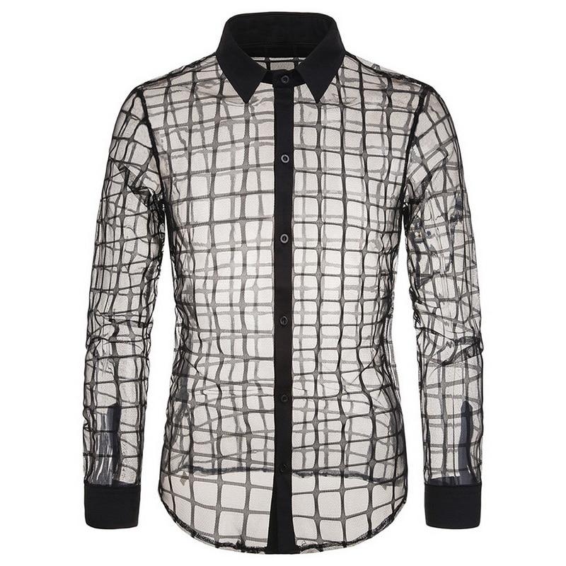 NEW Men's Autumn Shirt Stage Slim Fashion Plaid Transparent Lapel Shirt Casual Transparent Men's Long Sleeve Shirt Size S-2XL