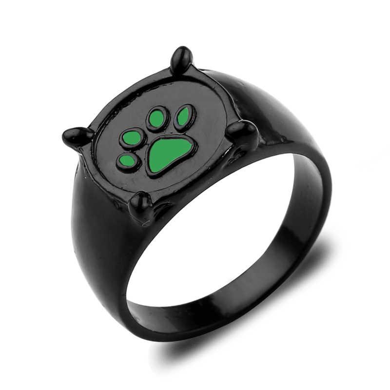 Anime Ladybug Black Cat Paw Ring Cartoon Cat Noir Green Paw print Ring Cute Ladybug Green Enamel Paw Ring Jewelry For Men Women