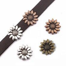 10 шт. античное серебро/латунь/бронза 10*2 мм цветок подсолнуха слайдер разделитель бусины для 5 мм 10 мм плоский кожаный шнур