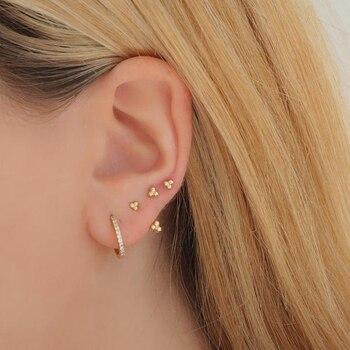2020 new 925 sterling silver dainty earring minimal delicate design Gold color colorful rainbow cz women multi piercing earrings