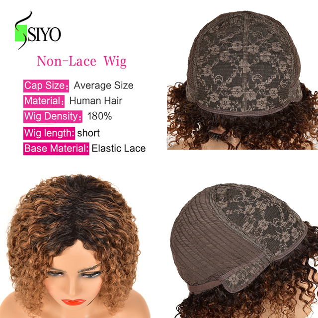 Siyo Brazilian Human Hair Wigs Water Wave Remy Human Hair Wigs for Black White Women Short Curly Human Hair Wigs