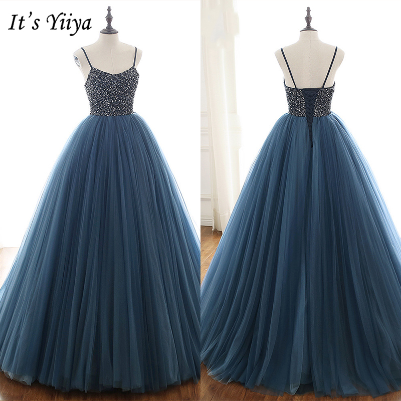 It's Yiiya   Evening     Dress   2019 Elegant Crystal Spagheti Strap Party Robe de Soiree Plus Size Floor Length Lace Up Ball Gown E932
