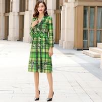 Xiaomoli Autumn 2019 new windbreaker jacket green checked colour tied waistband pull in dress