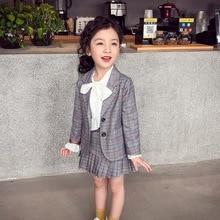 エレガントな2個ビッグ女の子服セット秋春の学校均一なティーンエイジャーブレザースーツ女性児童生徒衣装8 10 12年