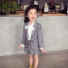 Elegancki 2 sztuk zestaw ubrań dla dużych dziewczynek jesień wiosna mundurek szkolny nastolatek Blazer garnitur kobiet dziecko uczeń kostium 8 10 12 lat