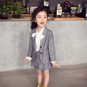 Image 1 - Elegancki 2 sztuk zestaw ubrań dla dużych dziewczynek jesień wiosna mundurek szkolny nastolatek Blazer garnitur kobiet dziecko uczeń kostium 8 10 12 lat
