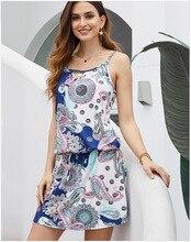 Women Summer Dress Printed Sling High Waist Strap Ladies Dresses Mini 2019