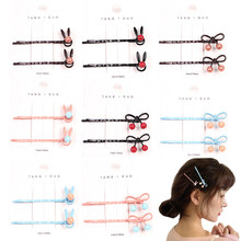 2Pcs/Lot Cute Women Girls Long Hairpins Bow Cherry Rabbit Ears Pearl Pins Metal Wave Hair Clips Hair Accessories Tools Gift(China)