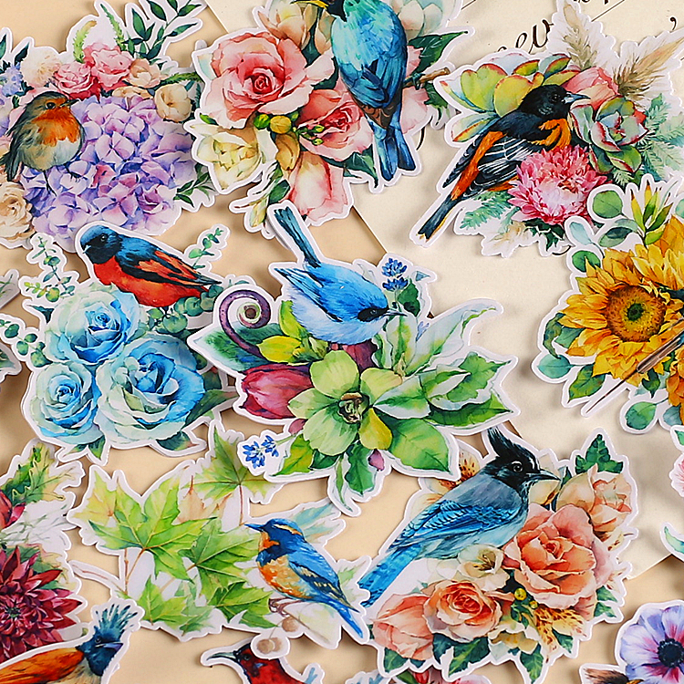 15PCS Flower And BirdPaper Lable Stickers Crafts And Scrapbooking Decorative Sticker DIY Lovely Stationery
