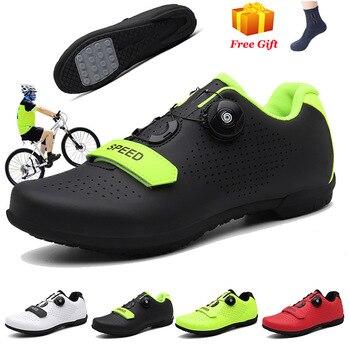 Barato sapatos de ciclismo spd cleat men mtb sapatos ao ar livre respirável auto-bloqueio sapatos de bicicleta de montanha mulher tênis de corrida 1
