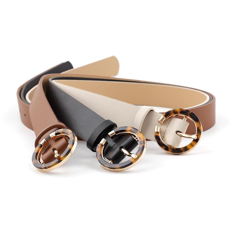 Women's Leopard Print Amber Circle Pin Buckle Belt 2020 New Fashion Casual Vintage Wild PU Belt Jeans Dress Waistband P79