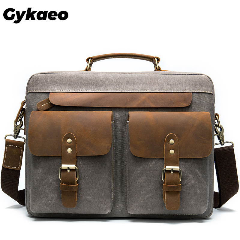 Gykaeo 2019 New Men Fashion Handbag Genuine Leather With Canvas Male Briefcase Business Bags 14 Inch Computer Men's Shoulder Bag