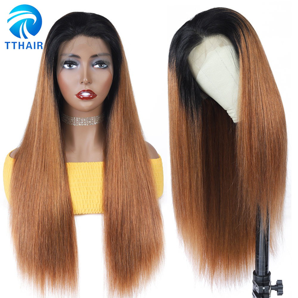 TTHAIR Ombre Human Hair Wig Straight Lace Frontal Wig Honey Blonde Lace Front Wigs Invisible Lace Wig Brazilian Wig Remy 28 Inch