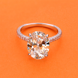 AINUOSHI Luxury 5 Carat Oval Cut Engagement Ring for Women 925 Sterling Silver Ring Wedding Promise Ring Bridal Jewelry
