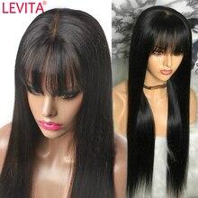 Бразильские прямые человеческие волосы, парик с челкой, Короткие парики из человеческих волос, парики для женщин, поддельные волосы на шнур...