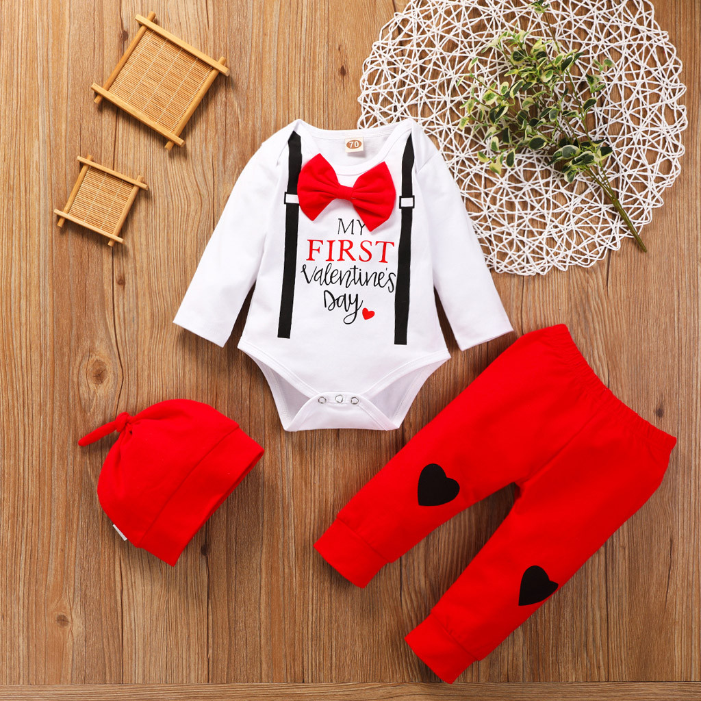 Newborn Infant Baby Boy Girl Valentine Day Heart Print Romper Pants Outfits Set