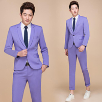 Tide Men Colorful Fashion Wedding Suits Plus Size 5XL Yellow Pink Green Blue Purple Suits Jacket and Pants Tuxedos