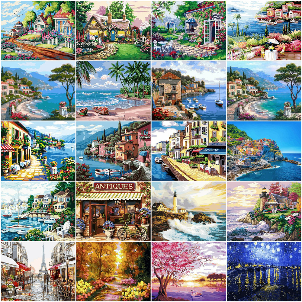 HUACAN Paintings By Number Seaside Landscape Drawing On Canvas HandPainted Gift Picture By Number City House Kits Home Decor