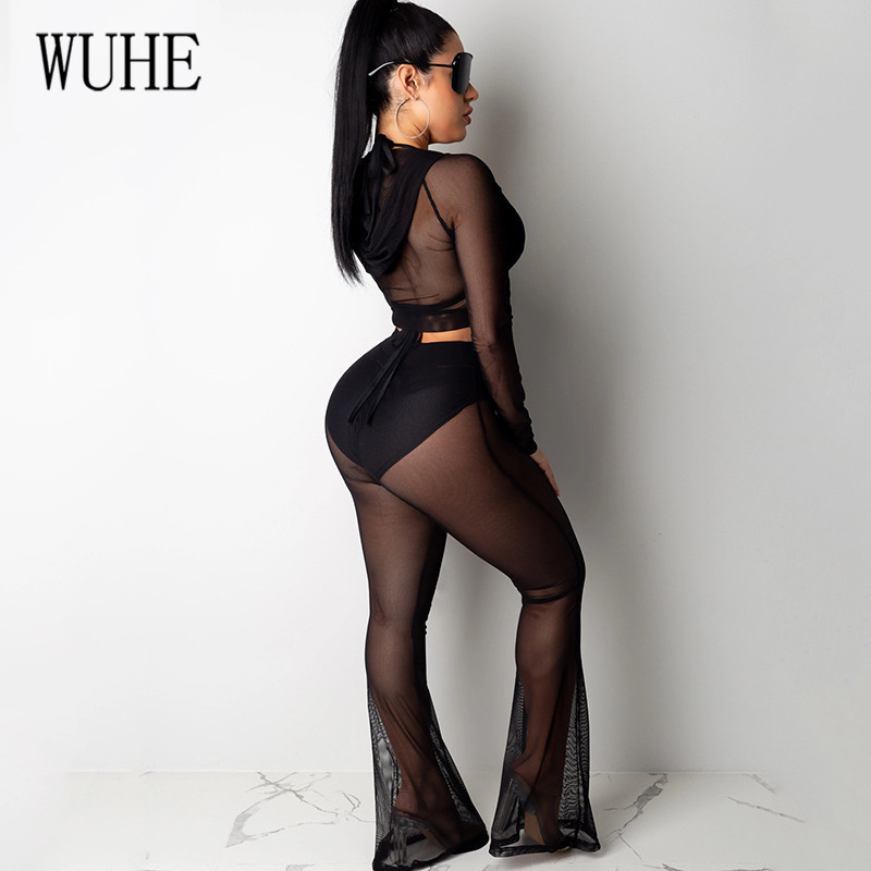 WUHE Two Pieces Sets Long Romper Sexy Sheer Mesh Long Sleeve Jumpsuits Elegant See Through Mesh Hoodie Night Club Playsuits