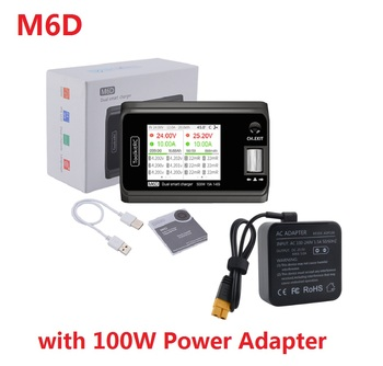 Minicargador de doble canal ToolkitRC M6D 15Ax2 para salida 1-6s Lipo LiHV Lion NiMh Pb batería con adaptador de corriente de 100W