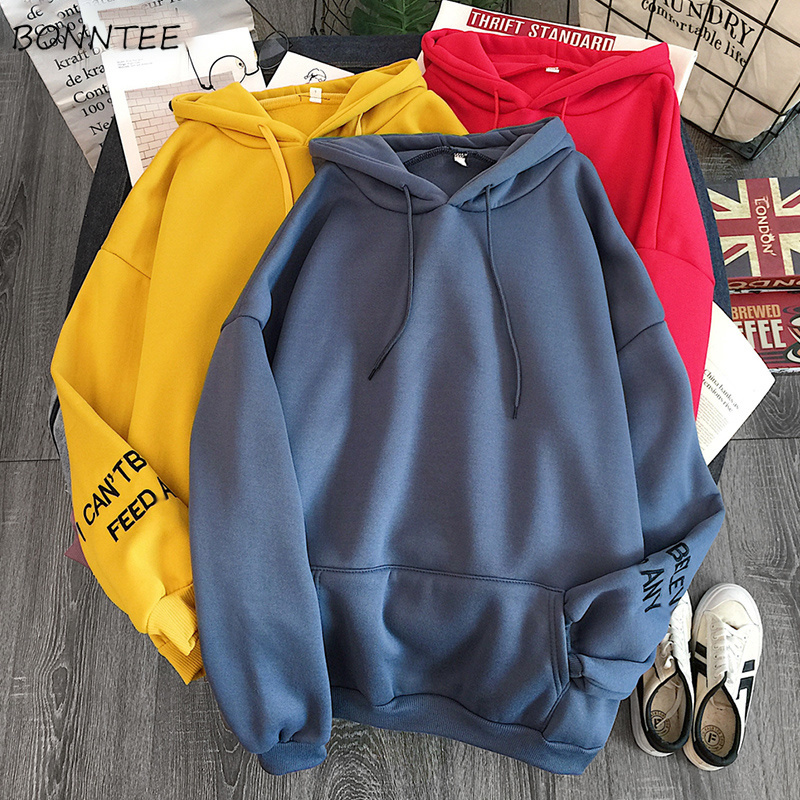 Hoodies Women Hooded Winter Warm Letter Printed Loose Thicker Plus Velvet Womens Students Simple All-match Korean Style Leisure