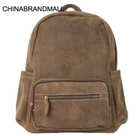 Horse leather men large backpack outdoor casual school bags high quality
