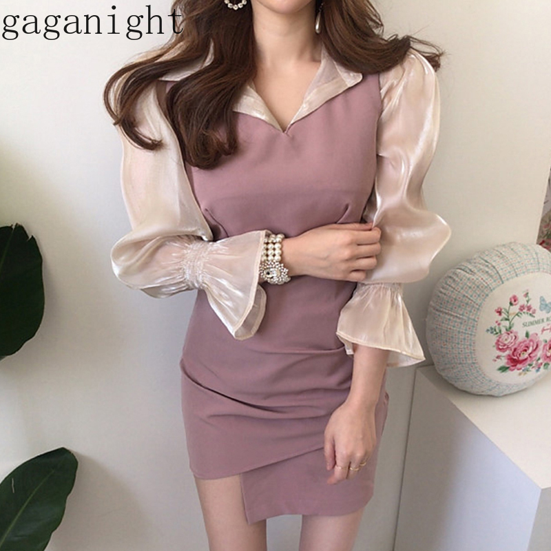 Gaganight Elegant Sexy Women Solid Suit Long Sleeve Blouse Mini Short Bodycon Dress Office Lady Spring Summer Outfit Ruched Chic