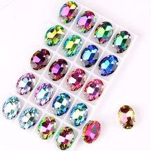 Forma oval prata garra configurações 20 pcs/p arco-íris & geléia ab cores cristal de vidro 10*14mm 13*18mm costurar strass apliques diy