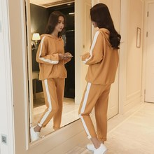 Autumn Women Elastic Waistline Hoodies Tracksuit Loose Simple Side Striped Loose Two Piece Set Pockets Pocket Pant Casual Outfit grey causal two side pockets hoodie