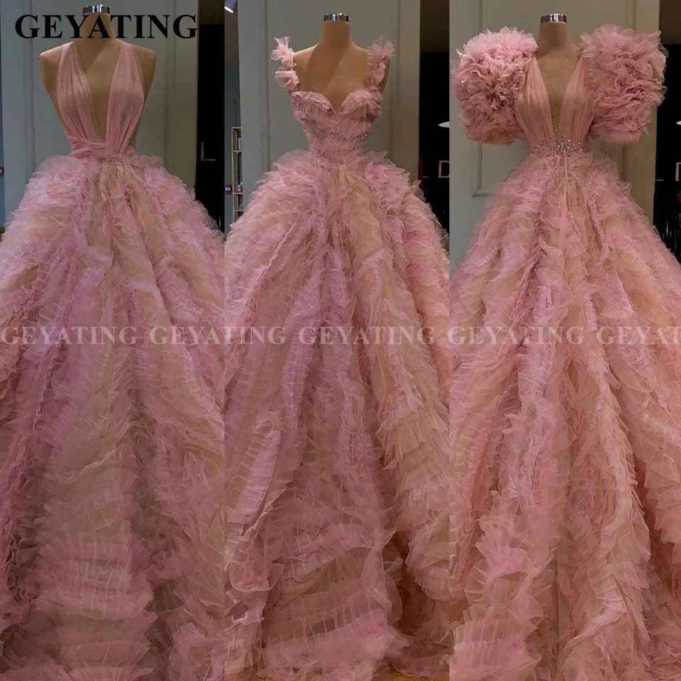 Arabic Pink Tulle Ball Gown Evening Dress 2020 Deep V-Neck Ruffles Dubai Prom Dresses Plus Size Sweet 16 Quinceanera Party Gowns