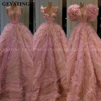 Arabic Pink Tulle Ball Gown Evening Dress 2020 Deep V Neck Ruffles Dubai Prom Dresses Plus Size Sweet 16 Quinceanera Party Gowns