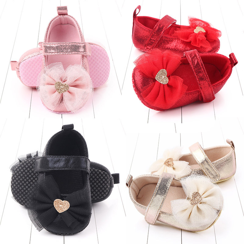 0-6 7-12 13-18 Month Baby Girl Shoes Baby Walking Shoes Indoor Soft Sole Non-slip Prewalker Newborn Shoes Bow Toddler Girl Shoes
