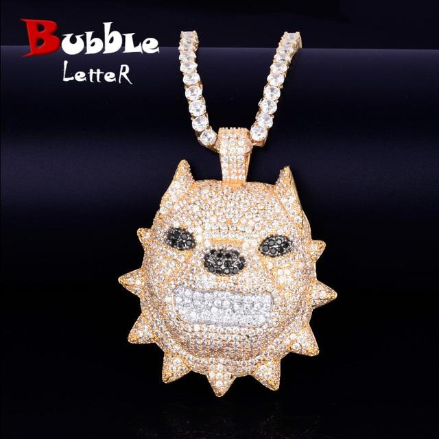 สัตว์หัวสุนัขสร้อยคอและจี้เทนนิสทองสี Bling Cubic Zircon ผู้ชาย Hip hop ROCK Street เครื่องประดับ