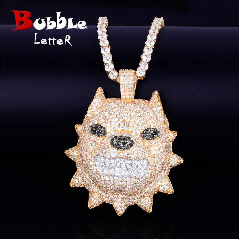 สัตว์หัวสุนัขสร้อยคอและจี้เทนนิสทองเงิน Bling Cubic Zircon ผู้ชาย Hip hop ROCK Street เครื่องประดับ