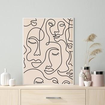 Impresión del arte de la cara de una sola línea cartel minimalista mujer cara una línea dibujo arte de la pared Neutral pintura de la lona decoración de la pared de la habitación del hogar