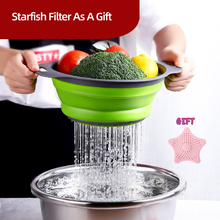Collapsible Silicone Colander Folding Kitchen Strainer With Handle For Pasta Fruits Potato Meat Vegetable Tools