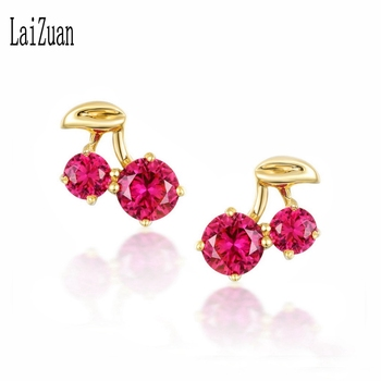 LaiZuan Solid 18K AU750 Yellow Gold Round Genuine red Topaz Stud Earrings For Women Girl Trendy.jpg 350x350 - LaiZuan Solid 18K (AU750) Yellow Gold Round Genuine red Topaz Stud Earrings For Women Girl Trendy Cute Fine Jewelry Elegant Gift