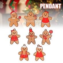 12PCS Christmas Tree Decor Hanging Cartoon Gingerbread Man/Snowman/Santa Pendant Festival Party Ornament for Indoor