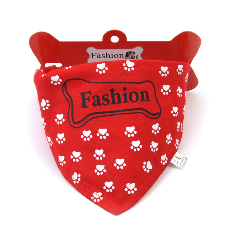 Pet Supplies Hide Substance Large Dog Collar Leather Collar Printed Triangular Binder Bibs Small Dogs Dog Neck Ring